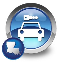 louisiana map icon and an auto rental sign