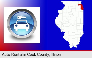 an auto rental sign; Cook County highlighted in red on a map