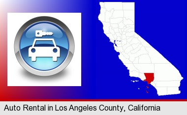 an auto rental sign; Los Angeles County highlighted in red on a map