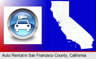an auto rental sign; San Francisco County highlighted in red on a map