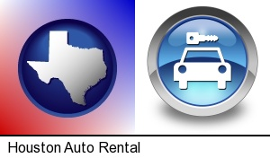 an auto rental sign in Houston, TX