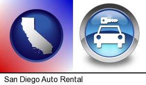 San Diego, California - an auto rental sign