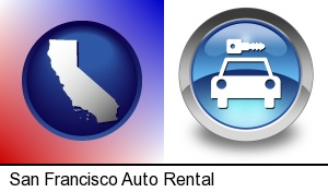 an auto rental sign in San Francisco, CA